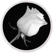 Monochrome White Rose Round Beach Towel