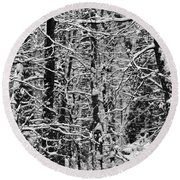 Monochrome Winter Wilderness Round Beach Towel