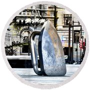 Monopoly Iron Statue In Philadelphia Round Beach Towel
