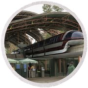 Monorail Depot Disneyland 02 Round Beach Towel
