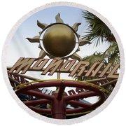 Monorail Signage Disneyland Round Beach Towel
