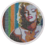 Monroe In Stamps Round Beach Towel