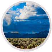 Monsoons In July Round Beach Towel