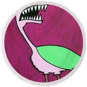 Monster Bird Round Beach Towel