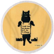Monster Cat Round Beach Towel