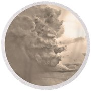 Monster Cloud Sepia Country Round Beach Towel
