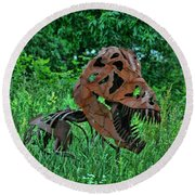 Monster In The Grass Round Beach Towel