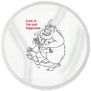 Monster Valentine Round Beach Towel