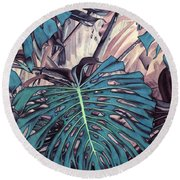 Monstera Blues Round Beach Towel