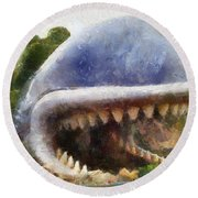 Monstro The Whale At Disneyland All Teeth Photo Art Round Beach Towel