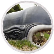 Monstro The Whale At Disneyland Side View Round Beach Towel