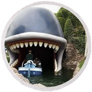 Monstro The Whale Boat Ride At Disneyland Round Beach Towel