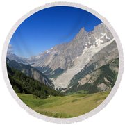 mont Blanc from Ferret valley Round Beach Towel