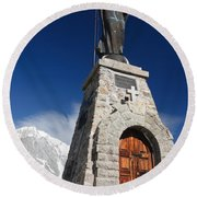 Mont Chetif With Small Chapel Round Beach Towel