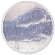 Mont Kolsaas Round Beach Towel by Claude Monet