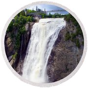 Mont Morency Falls Round Beach Towel
