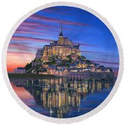 Mont Saint-michel Soir Round Beach Towel by Richard Harpum