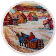 Mont St.hilaire Winter Scene Logger Heading Home To Quebec Village Winter Landscape Carole Spandau Round Beach Towel
