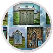 Montage Of Outhouses Round Beach Towel