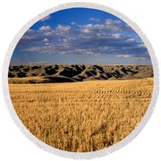 Montana   Field And Hills Round Beach Towel