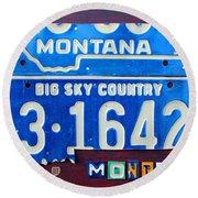Montana License Plate Map Round Beach Towel