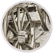 Montana Old Wagon Wheels In Sepia Round Beach Towel