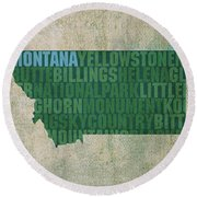 Montana Word Art State Map On Canvas Round Beach Towel