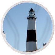 Montauk Lighthouse As Seen From The Beach Round Beach Towel