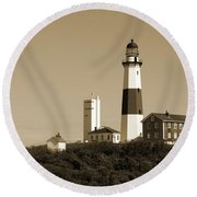 Montauk Point Light In Sepia Round Beach Towel