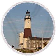 Montauk Point Lighthouse Round Beach Towel