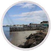 Montauk Port Long Island Round Beach Towel