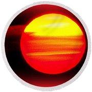 Montauk Sunset Abstract Round Beach Towel