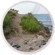 Montauk's Rocky Point Round Beach Towel