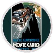 Monte Carlo - Vintage Poster Round Beach Towel