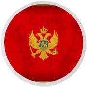 Montenegro Flag Vintage Distressed Finish Round Beach Towel