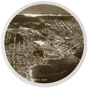 Aerial Of Monterey And Pacific Grove  California Oct. 25 1934 Round Beach Towel