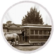 Monterey And Pacific Grove Street Railway Circa 1895 Round Beach Towel
