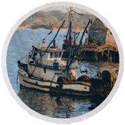 Monterey Fish Company Abstract Round Beach Towel