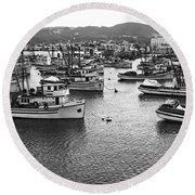 Monterey Harbor Full Of Purse-seiner Fishing Boats California 1945 Round Beach Towel