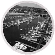 Monterey Marina With Fishing Boats In Slips Sept. 4 1961  Round Beach Towel
