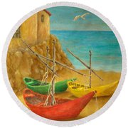 Monterosso On Riviera Di Levante Round Beach Towel