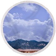 Montezuma County Landmark Round Beach Towel