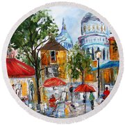 Montmartre Paris Round Beach Towel