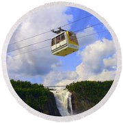 Montmorency Falls And Gondola Round Beach Towel