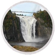 Montmorency Waterfall - Canada Round Beach Towel