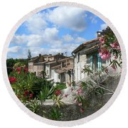 French Hilltop Terraces Round Beach Towel by France  Art