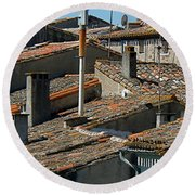 Tile Rooftops Of France Round Beach Towel