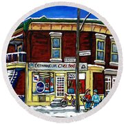 Montreal Art Hockey Paintings Chez Bert Depanneur The Pointe Verdun City Scene Carole Spandau  Round Beach Towel