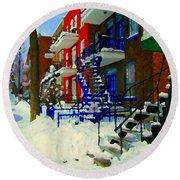 Montreal Art Streets Of Verdun Winter Scenes Winding Staircases Snowscenes Carole Spandau Round Beach Towel