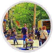 Montreal Art Summer Cafe Scene Rue Laurier Family Day Wagon Ride City Scene Art By Carole Spandau Round Beach Towel